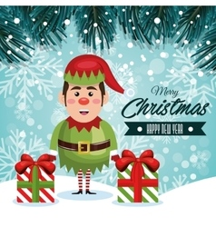 greeting christmas elf and gifts with snowfall vector image
