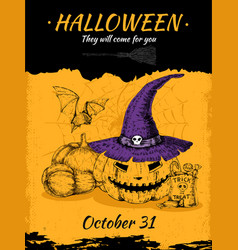 halloween hand drawn poster vector image