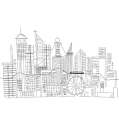 Hand drawn business center of big city street vector