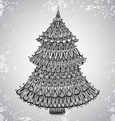 Hand drawn with ornamental Christmas Tree vector image