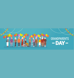 Happy grandparents day greeting card banner mix vector
