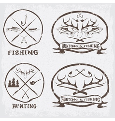 hunting and fishing vintage emblems set vector image vector image