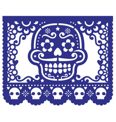 Mexican sugar skull design papel picado vector