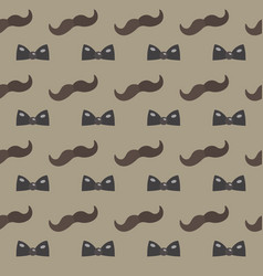 Mustache bow tie seamless patterns father s day vector