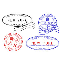 new york mail stamps collection faded colored vector image vector image