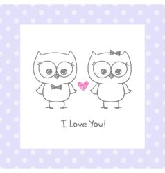 owls in love vector image vector image