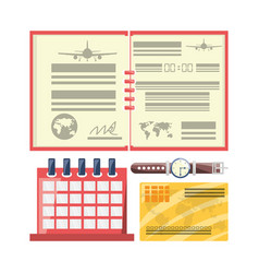 Passport with calendar to travel day vector
