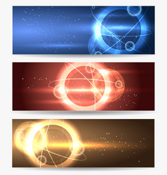 planet in space banners set vector image vector image