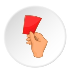 Referee showing red card icon cartoon style vector