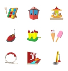 Rides icons set cartoon style vector