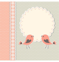 Round frame with two birds vector image vector image