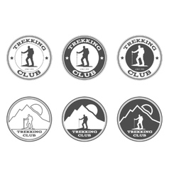 Set of monochrome outdoor adventure explorer camp vector image vector image