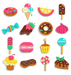 Sweets party treats icons collection vector