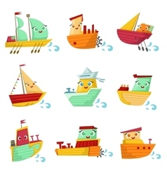 Toy ships with faces colorful set vector