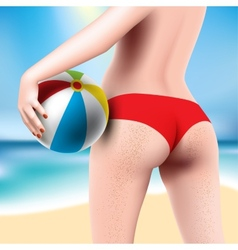 woman with beach ball vector image vector image
