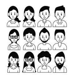 young friends cartoons set vector image