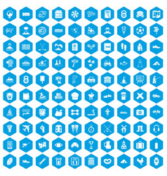 100 activity icons set blue vector