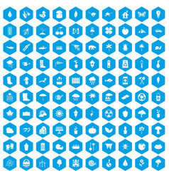 100 garden stuff icons set blue vector