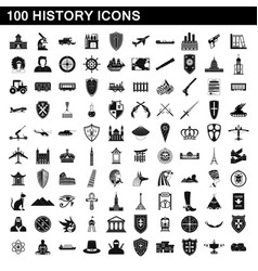 100 history icons set simple style vector