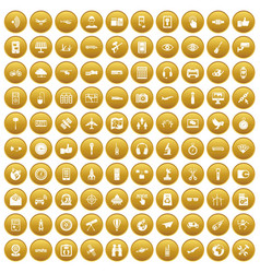 100 wireless technology icons set gold vector