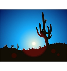 Blue Sky Cactus vector image
