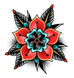 Old school tattoo flower vector image
