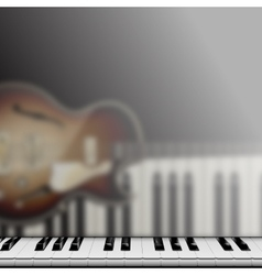 Piano keys and reflection with jazz guitar vector
