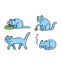 Blue pussycat emoticons set isolated vector