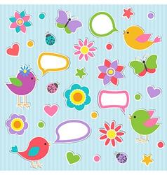 Speech bubbles with cute birds vector image