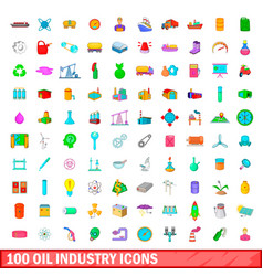 100 oil industry icons set cartoon style vector