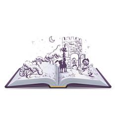 Open book tale of bremen musicians vector