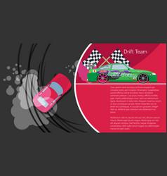 Top view of a drifting car drift banner for web vector