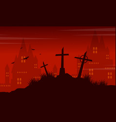 Grave and castle halloween landscape vector