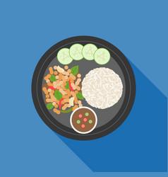 Thai food pad ka prao basil chicken stir-fry vector