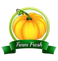 A farm fresh label with a pumpkin vector image