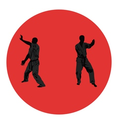 Men are engaged in karate vector