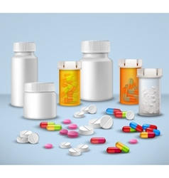 Pill bottles set vector