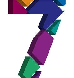 3d font number 7 vector