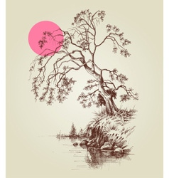 A tree by the lake or river and a pink full moon vector image
