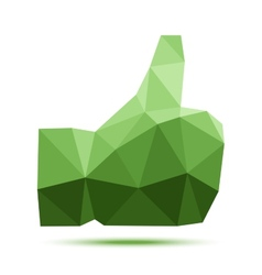 Dark green geometric triangular polygonal thumb up vector