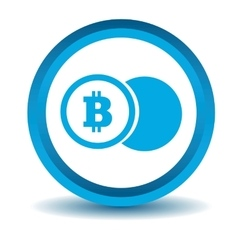 Bitcoin coin icon blue 3d vector