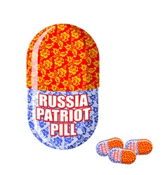 Russian patriotic pill capsule with national vector