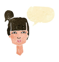 Cartoon female head with speech bubble vector