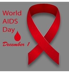 December 1 world aids day red satin ribbon on a vector