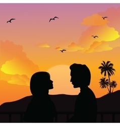 Couple silhouette romance man woman girls sunset vector