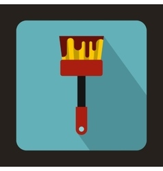 Paint brush with red paint icon flat style vector