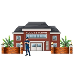 A policeman standing in front of the police vector image