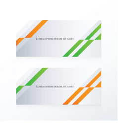 Abstract banner design orange green vector
