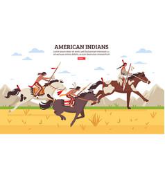 American indians cartoon background vector