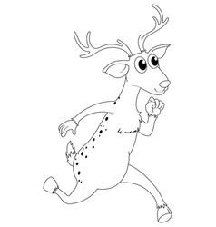 Animal outline for deer running vector